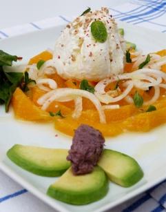 labneh amb ensalada de taronja