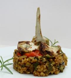 Paella de verdures amb arròs integral